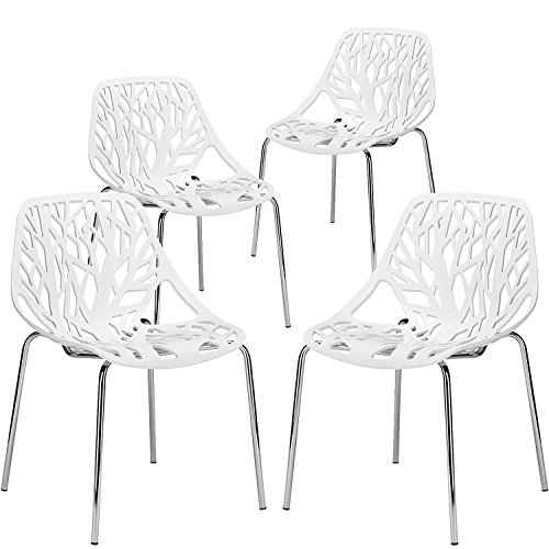 JAXPETY Birds Nest Dining Side Chair, Set of 4 18'' Height Armless Accent Chairs, for Dining Room Waiting Room White by JAXPETY