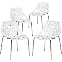JAXPETY Birds Nest Dining Side Chair, Set of 4 18 Height Armless Accent Chairs, for Dining Room Waiting Room White