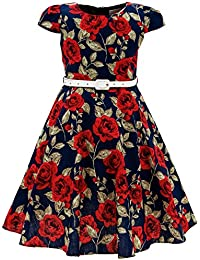 Girls Classy Vintage Floral Swing Kids Party Dresses