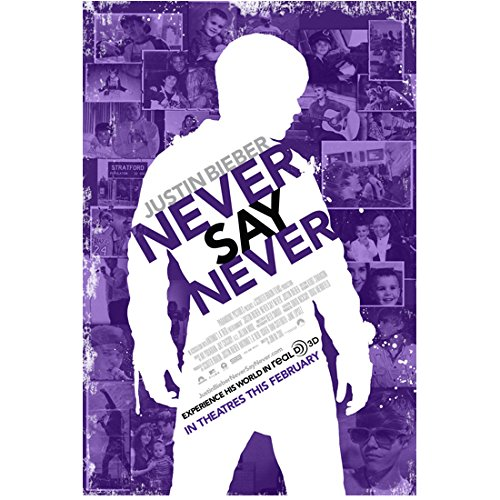 Justin Bieber 8inch x 10inch Photo Never Say Never (2011) White Silouette of Body Purple Pics in Background Poster kn