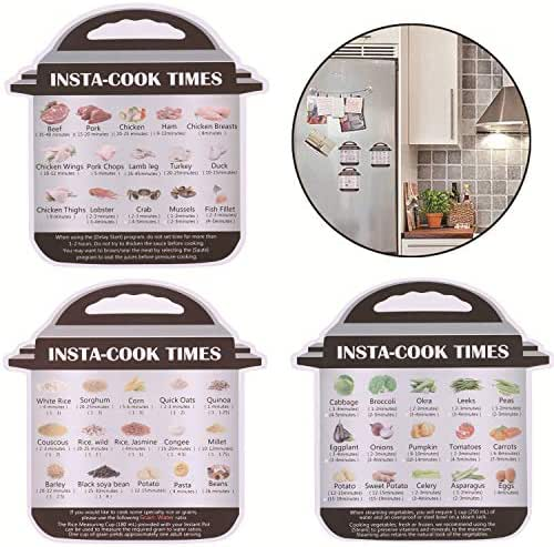 Olgaa 3 Packs Magnetic Cheat Sheets with Instant Pot Food Images Magnet Cooking Times Reference Guide for 45 CommonFood Accessories