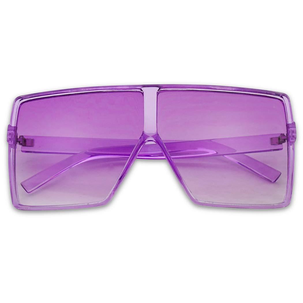 SunglassUP Oversized Festival Candy Colored Tone Square Crystal Frame Sunglasses (Purple Frame | Purple) by SunglassUP
