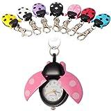 Ladybug Keychain Pocket Watch Beetle Pendant x 7pcs