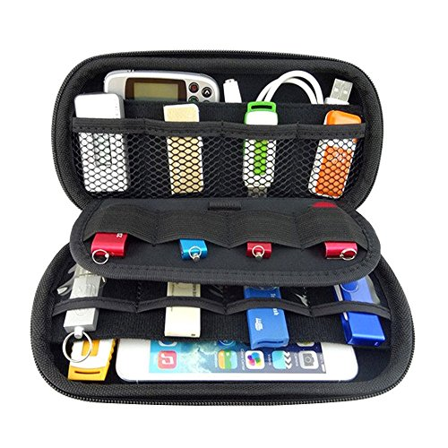 Happy Hours - Travel Organizer Portable EVA Case Bag / Hard Protective Carrying Pouch Sleeve for U Disk, SD Card, USB Flash Drives, Memory Cards, Cables, Smartphone with Mesh Accessories - Guess Outlet Clearance