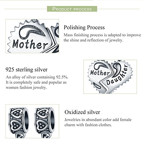 EyeCandy US Mother and Daughter 100% 925 Sterling Silver Love Forever Pendant Charms fit Bracelets Necklace Jewelry Making by EyeCandy US (Image #3)
