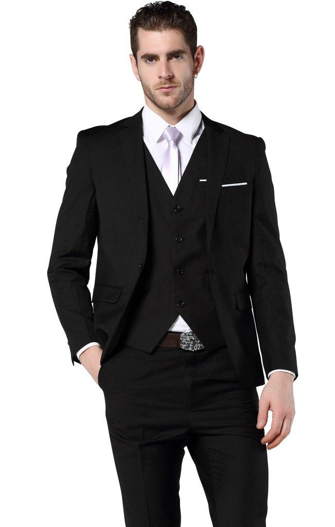 Men's Slim Fit 3 Piece Dress Suits Prom Dress Suit Set US Size 36¨Tag Asian Size XL Black