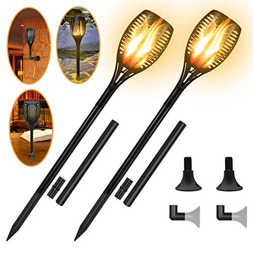 Permande Flickering Flames Solar Garden Lights, Outdoor Waterproof Lawn Lamp, Landscape Decoration Dancing Flame Lighting Dusk to Dawn, Auto On/Off Tiki Torches for Patio Yard Driveway, 2 Pack