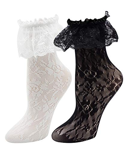Lovful Women's Lace Anklet Sock with Ruffle, 2 Pairs Set, BlackWhite