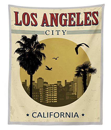 (Lunarable USA Tapestry Twin Size, Los Angeles City from California in Vintage Style Birds Vacation Journey Travel Theme, Wall Hanging Bedspread Bed Cover Wall Decor, 68 W X 88 L)