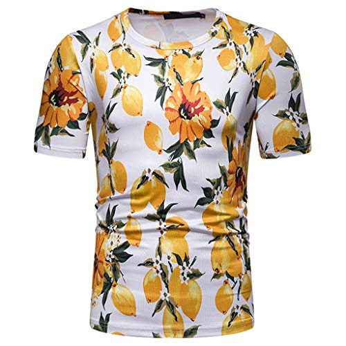 (Kinglly Men's Floral Shirt Fashion Hawaiian Beach T Shirt Leaf Short Sleeve Tops Holiday Open Shirts Yellow)