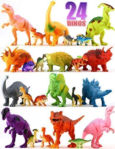 Shoof Dinosaur Toys Set for Boys & Girls - 12 Large & 12 Small Toy Dinosaurs + Play Mat - BPA-Free Plastic Dinosaurs for School, Playtime, Party Supplies - Plastic Dinosaur Figures for Kids 3+ -