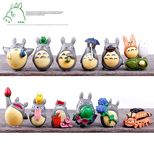 12xMy Neighbor Totoro Movie Character Garden Ornament Miniature Figures Doll Toy