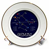 3dRose Alexis Design - Constellations of stars - Gemini Twins Zodiac asterism. Star colors, names. Elegant astronomy - 8 inch Porcelain Plate (cp_286116_1)