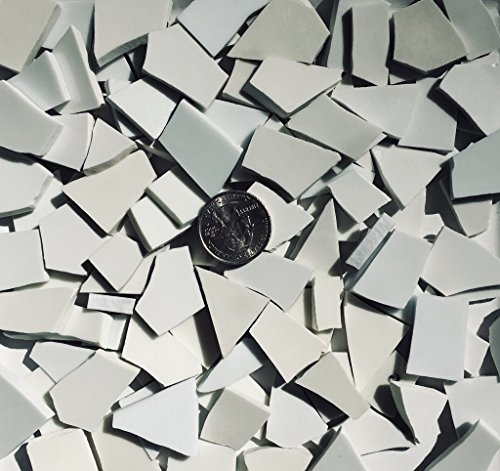 Mosaic Tile Art Supply for Mosaics & Crafts ~ 100+ Shades of White Tiles (T#580) ()