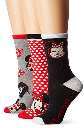 Disney Women's Minnie Mouse 3 Pack Crew Socks