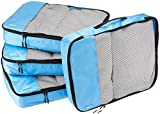 AmazonBasics 4 Piece Packing Travel Organizer Cubes Set - Large, Sky Blue