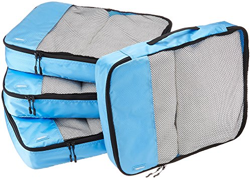 Cube Set Comforter (AmazonBasics 4 Piece Packing Travel Organizer Cubes Set - Large, Sky Blue)