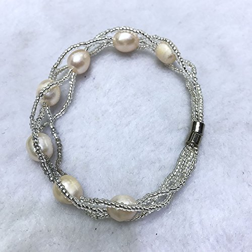 Run amount sales natural freshwater pearl bracelet 7-8 meters beads inlaid pearl bracelet fancy twist