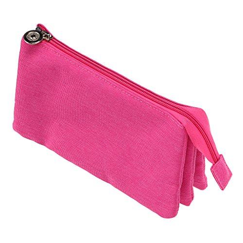 Student Canvas Pen Bag Pencil Case Travel Makeup Bag Pink - 4