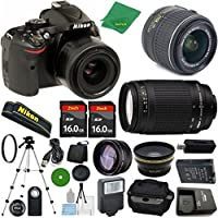 Nikon D5200 - International Version (No Warranty), 18-55mm f/3.5-5.6 DX VR, Nikon 70-300mm f/4-5.6G, 2pcs 16GB Memory, Camera Case, Wide Angle, Telephoto, Flash
