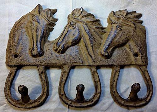Three Horse Head Horseshoe Hook, Towel Coat Key Hanger, Cowboy Tack Rack