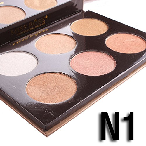 FantasyDay 6 Colors Illuminator Highlighting Makeup Powder Bronzer and Highlighter Makeup Powder Pressed Powder Foundation Face Eye Nose Contouring Palette #1