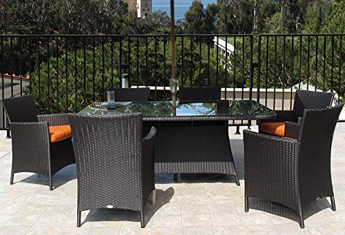 Urban Design Furnishings Hudson Outdoor Resin Wicker 7-PC Rectangle Dining Set Made in USA Sunbrella Cushions Assembled with Warranty For Sale
