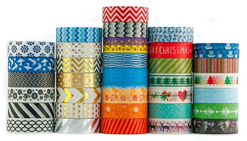 Washi Tape Set of 60 Assortments of Premium Decorative Rolls - Gold, Silver, Black, Yellow, Blue, Red, Green, Glitter (15mm x 10m) - By Washi.Design (60, Random Love) by Washi.DesignTM