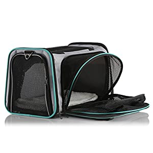 Dual Expandable Pet Carrier with Soft Sided Crate for Small Animals - Airline Approved Pet Carrier with Adjustable Shoulder Strap and Handle for Dogs|Cats | Terminal Friendly Carry Bag for Pets-Grey