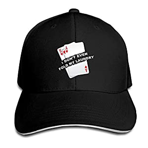 ZJXBaseball Cap Sandwich Cap Poker I Don't Even Fold My Laundry Funny Card Player Texas Hold Em Durable Baseball Cap Hats Adjustable Peaked Trucker Cap