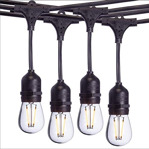 Sterno Home 48-Ft Vintage-Style Waterproof Outdoor LED String Lights - Hanging Edison Bulbs on Black Rubberized Cord - For Backyard, Weddings, Patio, Porch, and more. from Sterno Home