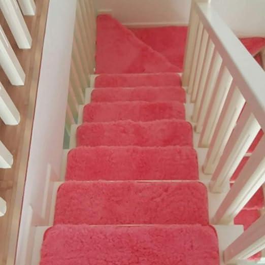YB&GQ Antideslizante Shag Pisadas De Escalera,Interiores Aire Libre Felpa Cojín Carprt De Escalera,Suave Gruesas Alfombrillas para Mármol Escalera De Madera,Conjunto De 1-Rojo 25x70cm(10x28inch): Amazon.es: Hogar