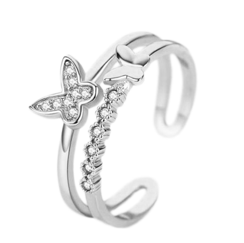 Cdet 1X Open Ring Women Butterfly Diamond Size Adjustable Wedding Ring Lady Jewelry Accessories Love Gift Silver