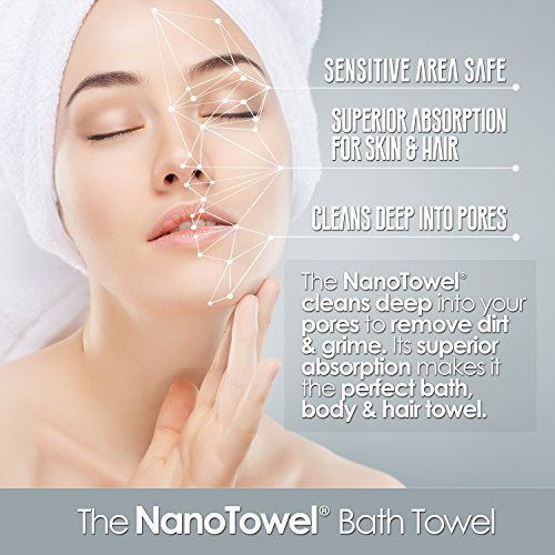 Nano Towels Body Bath & Shower Towel. Huge & Super Absorbent. Wipes Away Dirt, Oil and Cosmetics. Use As Your Sports, Travel, Fitness, Kids, Beauty, Spa Or Salon Luxury Towel. 30 x 55''. by Life Miracle (Image #2)