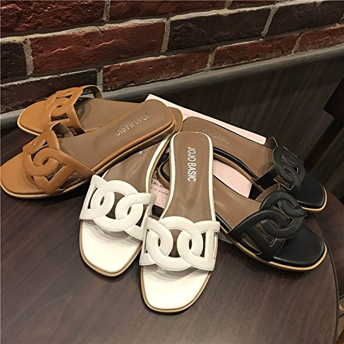 @Sandals Neue Neue Neue Koreanische Version Lässig Lockere Eckigen Boden Flat Einzigen Schuh Loch Beach 509e57