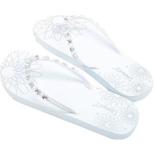 bba7d9b7f Diamon t Just Married Diamante Flower Pattern Womens Flip Flops Medium 5-6 -