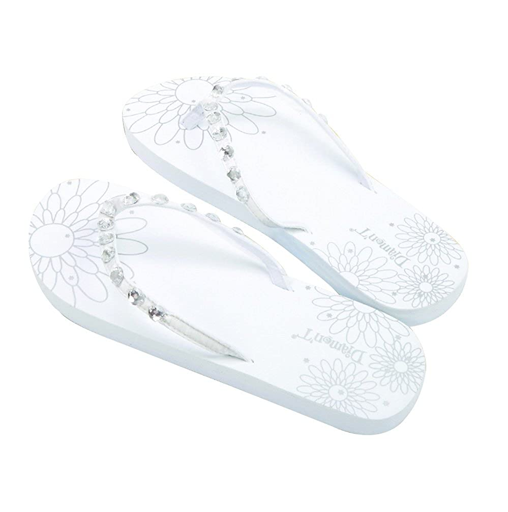 c97513038 Diamon t Just Married Diamante Flower Pattern Womens Flip Flops Medium 5-6  - White  Amazon.co.uk  Shoes   Bags