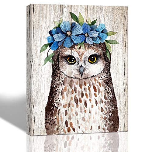 - Purple Verbena Art Flower Garland Owl Pictures Canvas Wall Art Watercolor Lovely Animal Hand Painting on Canvas Artwork Home Decor for Living Room Bedroom Walls Decoration,Framed Picture 12x16 Inches
