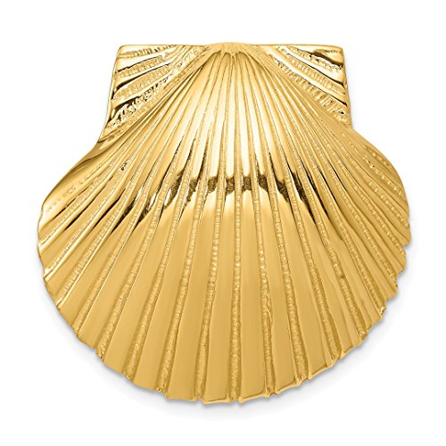 ICE CARATS 14kt Yellow Gold Fits Up To 10mm 8mm Medium Scallop Sea Shell Mermaid Nautical Jewelry Slide Necklace Pendant Charm Omega Fine Jewelry Ideal Gifts For Women Gift Set (Nautical Pendant Slide)