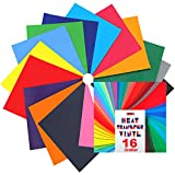 Heat Transfer Vinyl for T-Shirts - 16 Sheets | 12''x 12'' | Assorted Colors, Iron On HTV for Cricut and Silhouette Cameo (U-ZM)