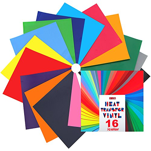 Heat Transfer Vinyl for T-Shirts - 16 Sheets | 12''x 12'' | Assorted Colors, Iron On HTV for Cricut and Silhouette Cameo (U-ZM) by U-ZM