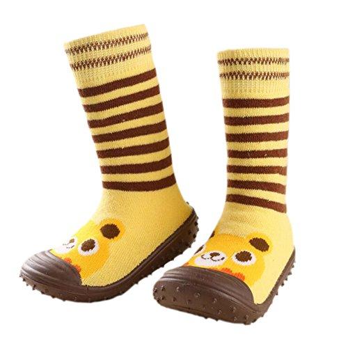 Säugling Baby Karikatur Gemustert weich Gummi Boden Anti-Rutsch Stiefel Aqua-Socke gelb (Yellow Bear)