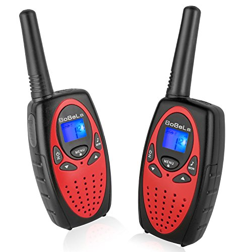 Bobela Walkie Talkies for Kids, Novelty Gifts as Festival Christmas and Thanksgiving Day for 4 Years Old Girls and Women, Hand Held Long Range Walky Talky for Home Park Neighborhood (Red, 2 Pack)
