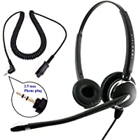 Plantronics Compatible QD 2.5mm Headset Combo - Best Pro Binaural Headset + 2.5 mm headset jack as Office Headset