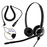 2.5 mm Headset - InnoTalk Luxury Quick Disconnect Headset compatible with Plantronics QD