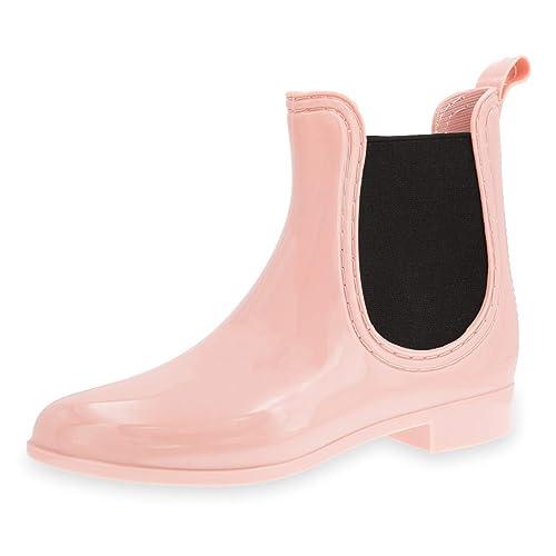 innovative design 7bbd0 fcbb7 Damen Schlupf Gummistiefel Chelsea Boots Lack Stiefeletten