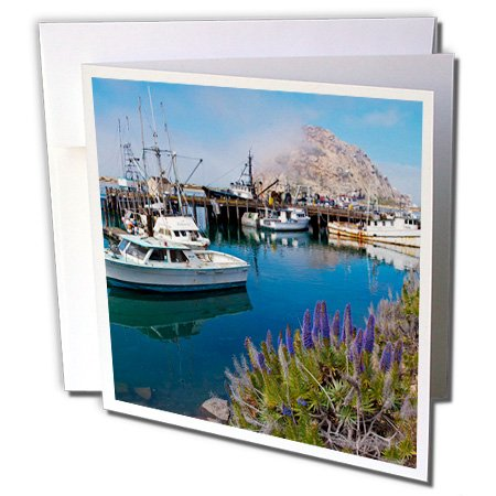 3dRose USA California Docked Boats at Morro Bay with Morro Rock Greeting Cards, Set of 6 (gc_189384_1)