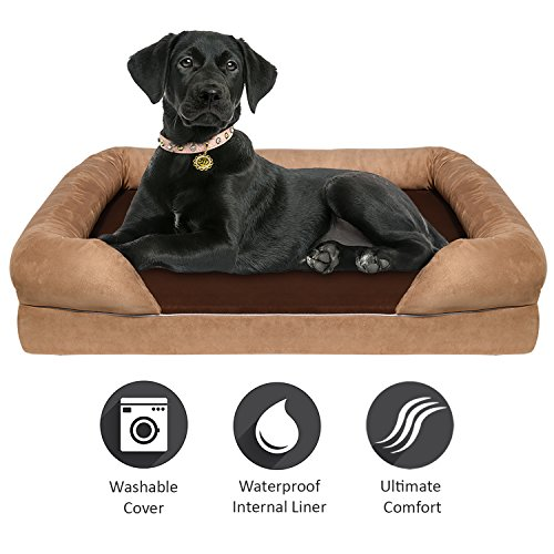 Arf Pets Waterproof Bolster Dog Bed With 4 Inch Thick Solid Memory Foam Orthopedic Mattress, Washable Removable Cover , for Large Breeds
