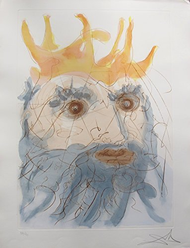 (Artwork by Salvador Dali 1975 Hand Signed Etching. After the Original Painting or Drawing. King Saul From Our Historical Heritage Suite Measurements 19 7/8 Inches X 26 Inches)