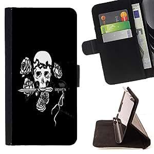 BullDog Case - FOR/Sony Xperia Z1 L39 / - / Black & White Floral Rose Skull /- Monedero de cuero de la PU Llevar cubierta de la caja con el ID Credit Card Slots Flip funda de cuer